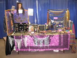 The Crystal Kini Designs Booth with Beautiful Bellydance Costume Accessories