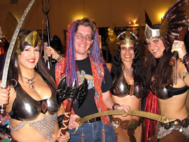 Barefoot Chris with the Lovely--and Well-Armed--Ladies of Metal Goddess